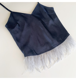 Dreamy Satin Feathered Slip Top