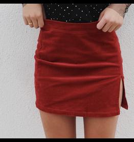 Corduroy Side Slit Mini Skirt