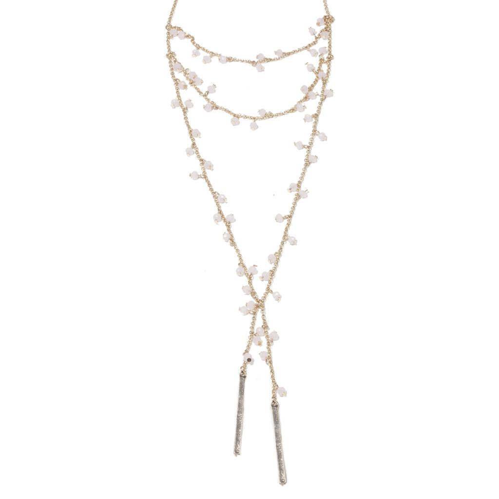 Beaded Drop Bar Necklace