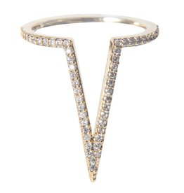 Rhinestone Covered V Shaped Ring