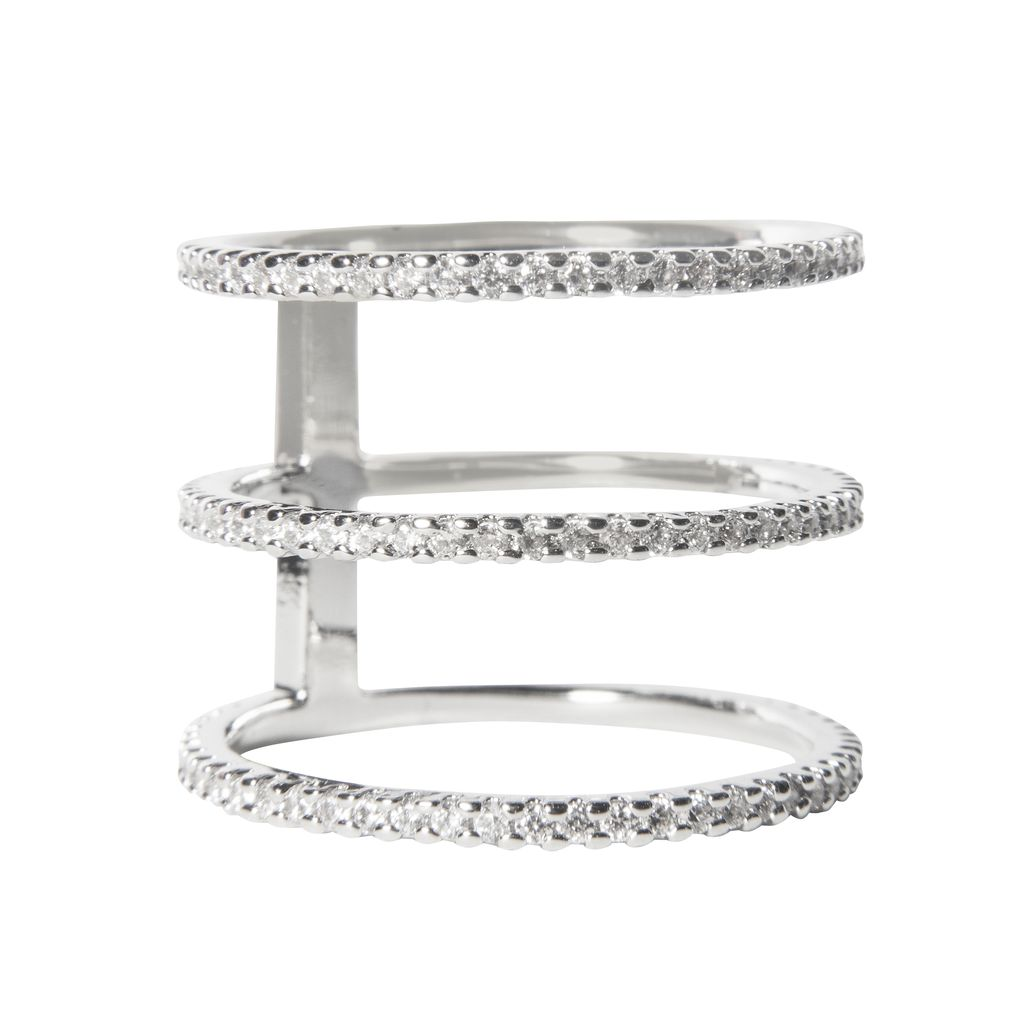 Rhinestone 3 Bar Ring