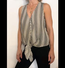 Cotton Stripe Front Tie Top