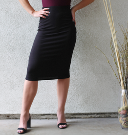 Solid Rib Midi Skirt