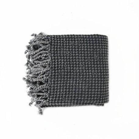 Waffle Towel w/ tassels-Dark Grey