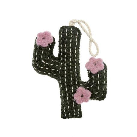 Felted Cactus Ornamnet -Pink Flower