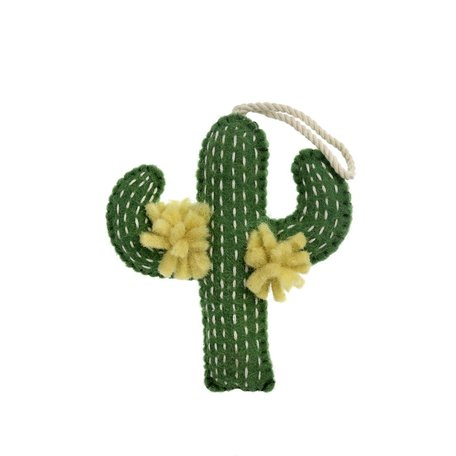 Felted Cactus Ornament -Yellow Flower