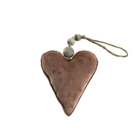 Velvet Heart Ornament -Rose