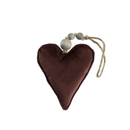 Velvet Heart Ornament -Maroon