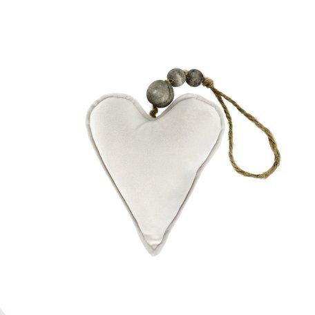 Velvet Heart Ornament -Cream