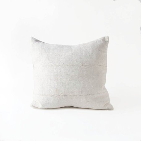 White Mudcloth Cushion -Plain