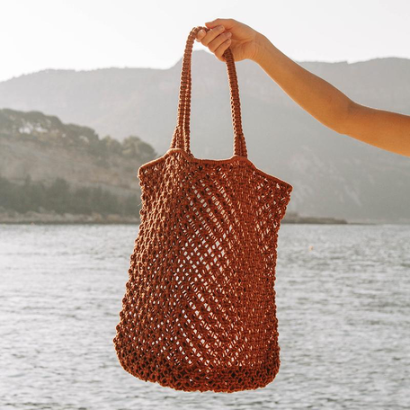 Macrame Cotton Cord Bag -Rust