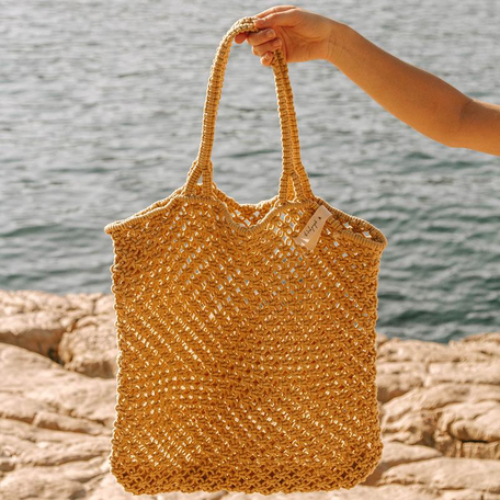 Macrame Cotton Cord Bag -Mustard