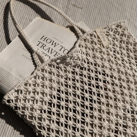 Macrame Cotton Cord Bag -White