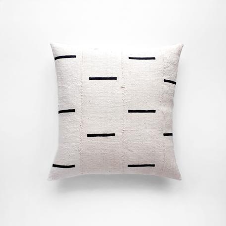 White Mudcloth Cushion -Tides