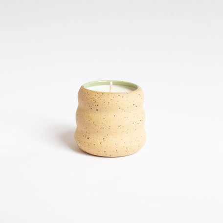Vetiver + Geranium Candle in Green Ceramic Vessel