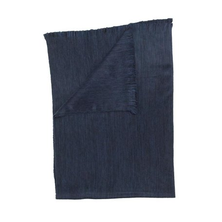 Fringed Blanket -Navy