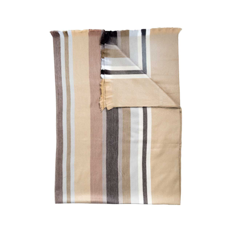 Fringed Blanket -Toffee Stripe