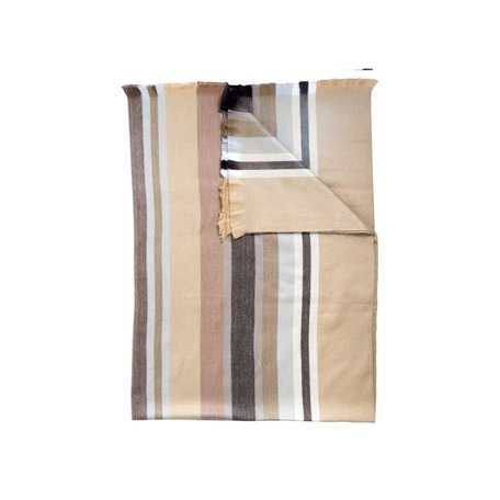 Fringed Throw -Toffee Stripe