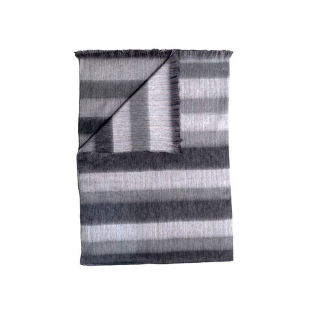 Fringed Throw -Grey Stripe