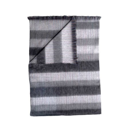 Fringed Blanket -Grey Stripe