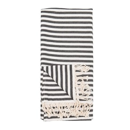 Striped Turkish Towel -Black