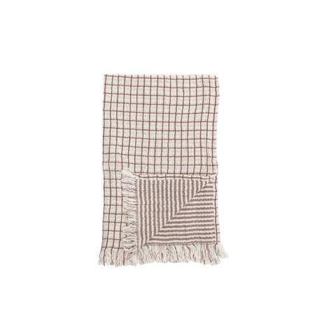 Cotton Hand Towel w/ Fringe -Red