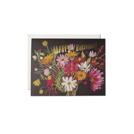 Vintage Happy Birthday Bouquet Card
