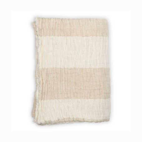 Linen Crinkle Throw -Neutral Stripe