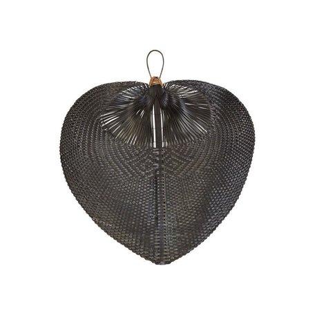 Hand Woven Black Bamboo Fan