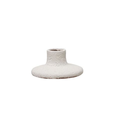 White Candle Holder -Short