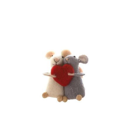 Felted Mice w/ Heart Ornament