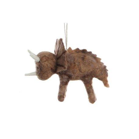 Felted Dinosaur Ornament -Triceratops