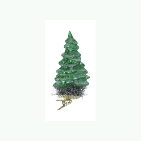 Glass Tree Clip-on Ornament -Green