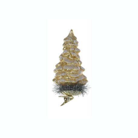 Glass Tree Clip-on Ornament -Gold