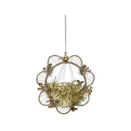 Wire Flower w/ bird Ornament