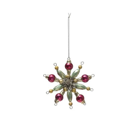 Beaded Glass Snowflake Ornament -Mint