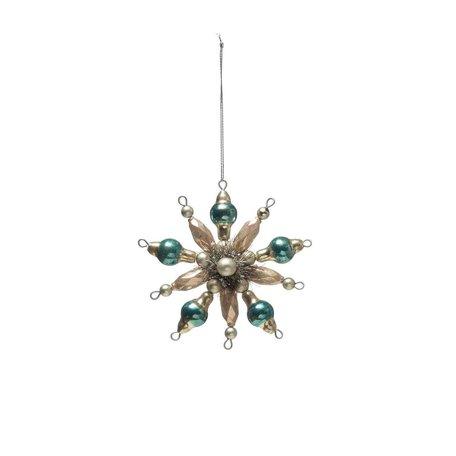 Beaded Glass Snowflake Ornament -Ivory