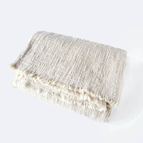 Ecru Khadi Cotton Throw