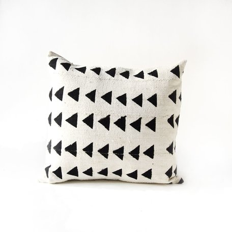 White Mudcloth Cushion -Pacific II