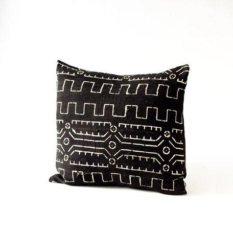 Black Mudcloth Cushion -Old World