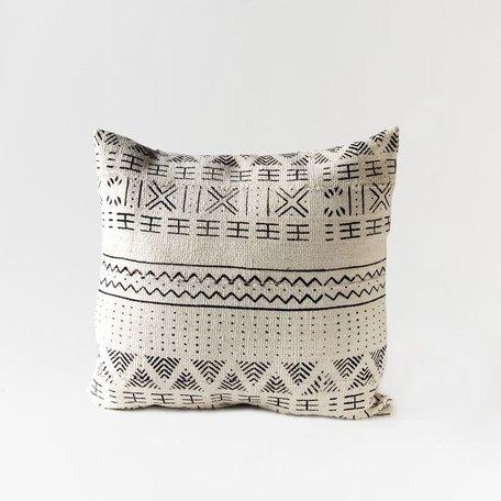 White Mudcloth Cushion -Seasons