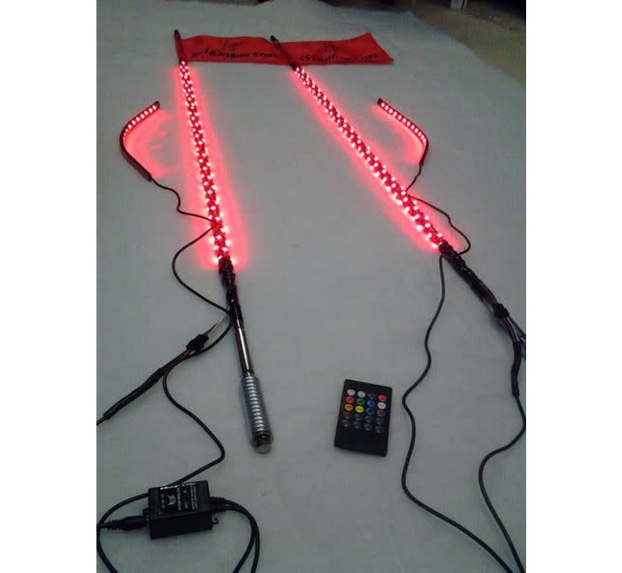 2 - 2' Sync'd RGB Whip Light w/ Controller & Complete Harness