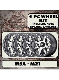 MSA M21 LOC Beadlock Gun Metal  15x7 4/137 +0mm (4 Wheel Kit)