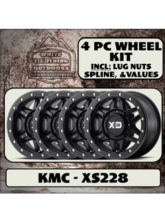 KMC XS228 Machete Beadlock Satin Black  15x7 4/137 +10mm (4 Wheel Kit)