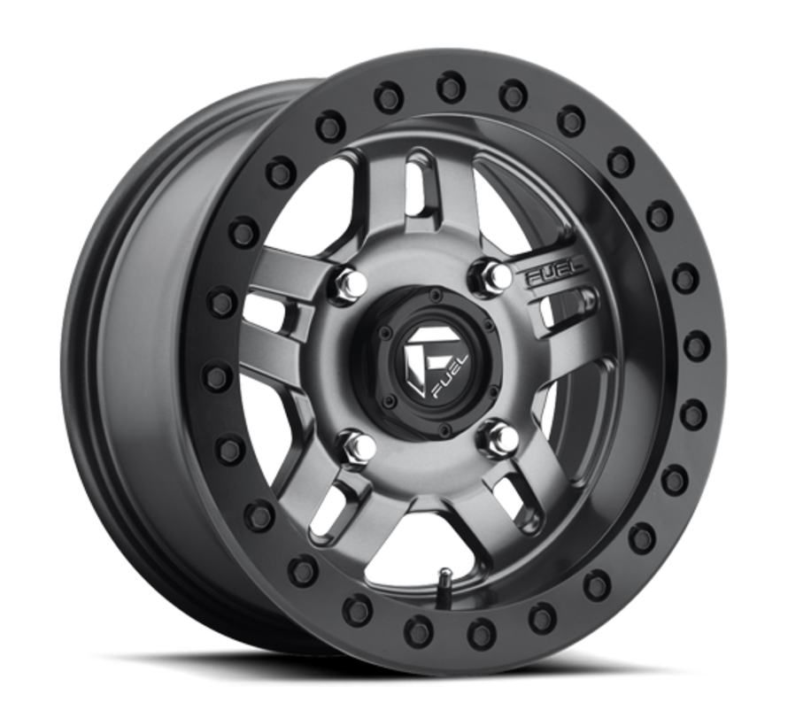 Fuel Off-Road - D918 Anza Beadlock Matte Anthracite w/ Black Ring 14x7 4/136 +13mm