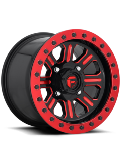 Fuel Off-Road Fuel Off-Road - D911 Hardline Beadlock (Lightweight Ring) Gloss Black w/ Candy Red 15x7 4/156 +38mm