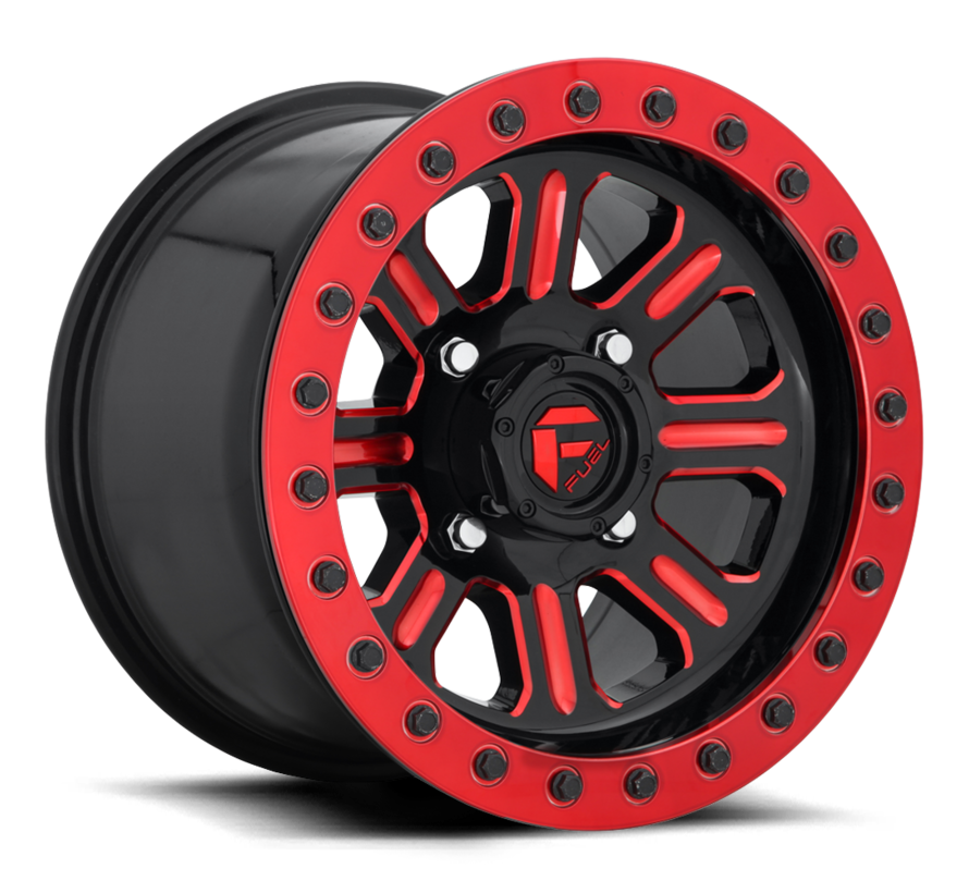 Fuel Off-Road - D911 Hardline Beadlock (Lightweight Ring) Gloss Black w/ Candy Red 15x7 4/136 +38mm