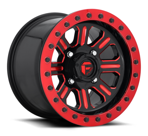 Fuel Off-Road Fuel Off-Road - D911 Hardline Beadlock (Lightweight Ring) Gloss Black w/ Candy Red 15x10 4/156 +25mm