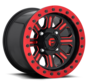 Fuel Off-Road - D911 Hardline Beadlock (Lightweight Ring) Gloss Black w/ Candy Red 15x10 4/156 +25mm