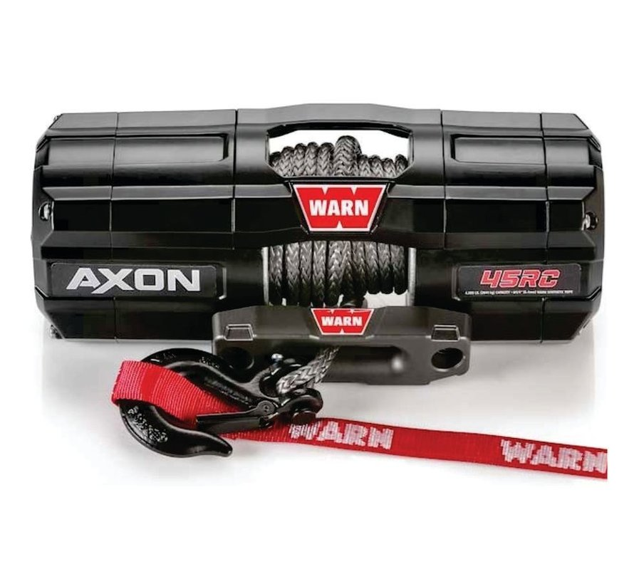Warn - Axon 4500RC (Short Drum) - Spydura Synthetic Rope - Includes Heavy Duty Winch Saver